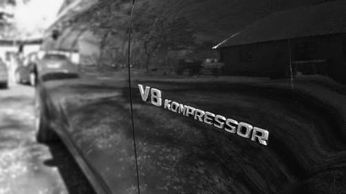 Free stock photo of amg, black and white, black and-white, car engine