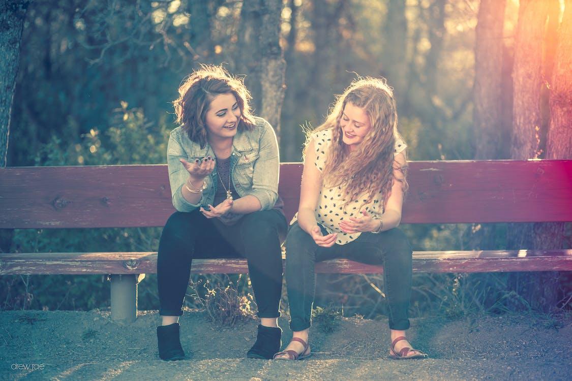 bench, friends, high school