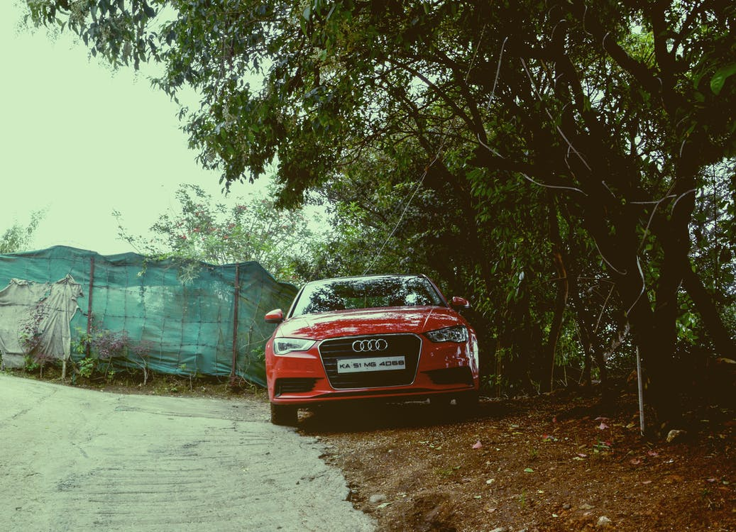 audi a3, car under tree, hilly