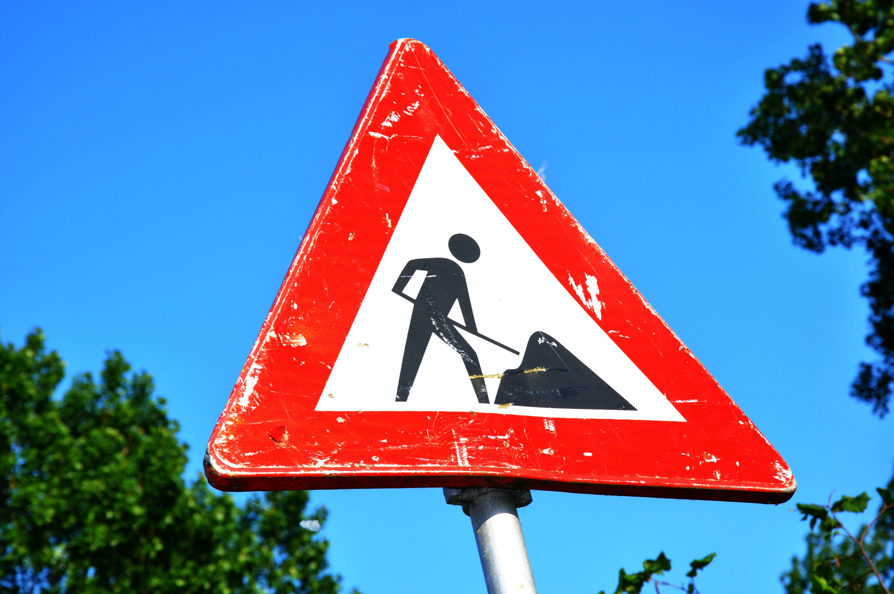 Free stock photo of sign, warning, safety, roadwork