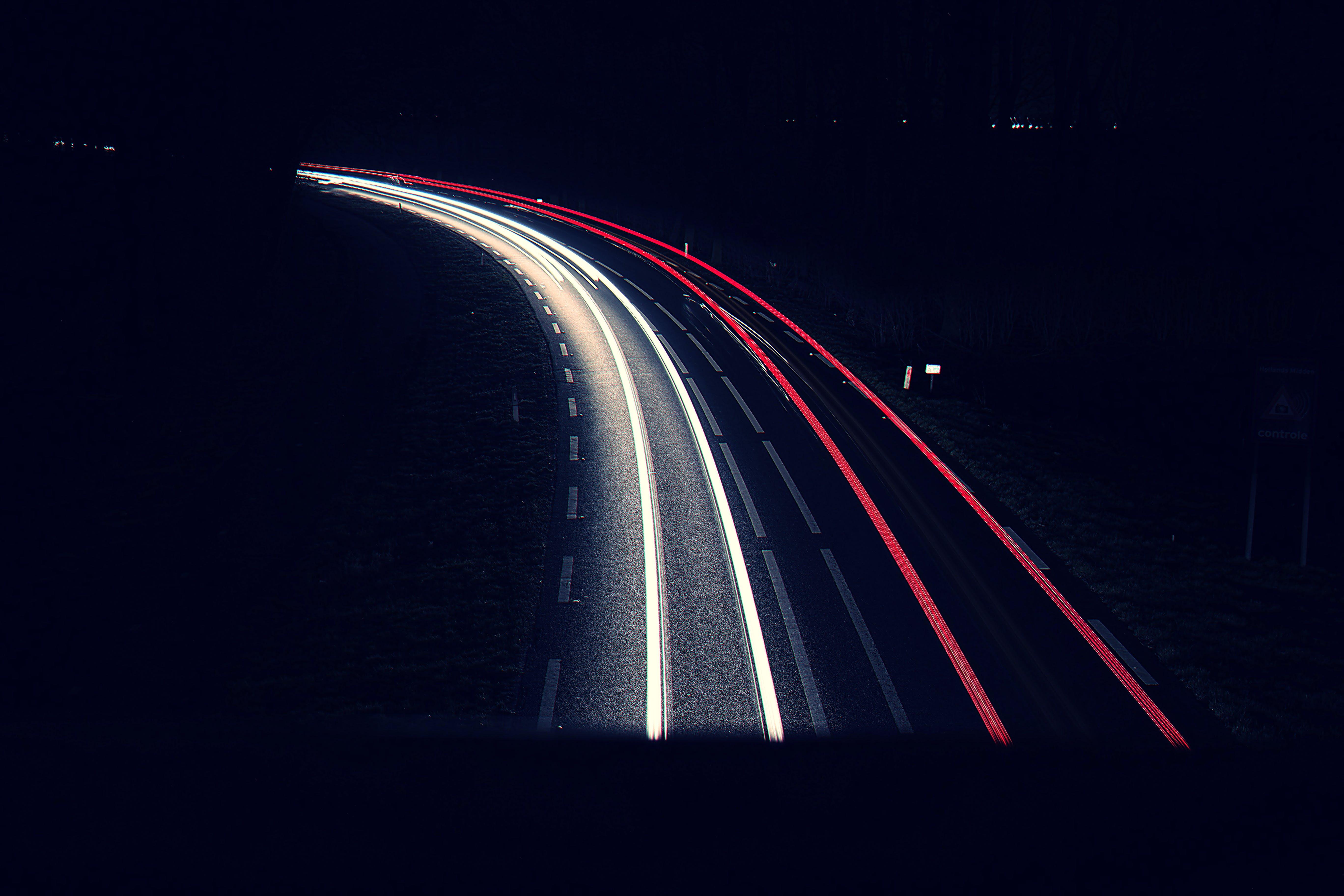 dlouhá expozice, noc, silnice