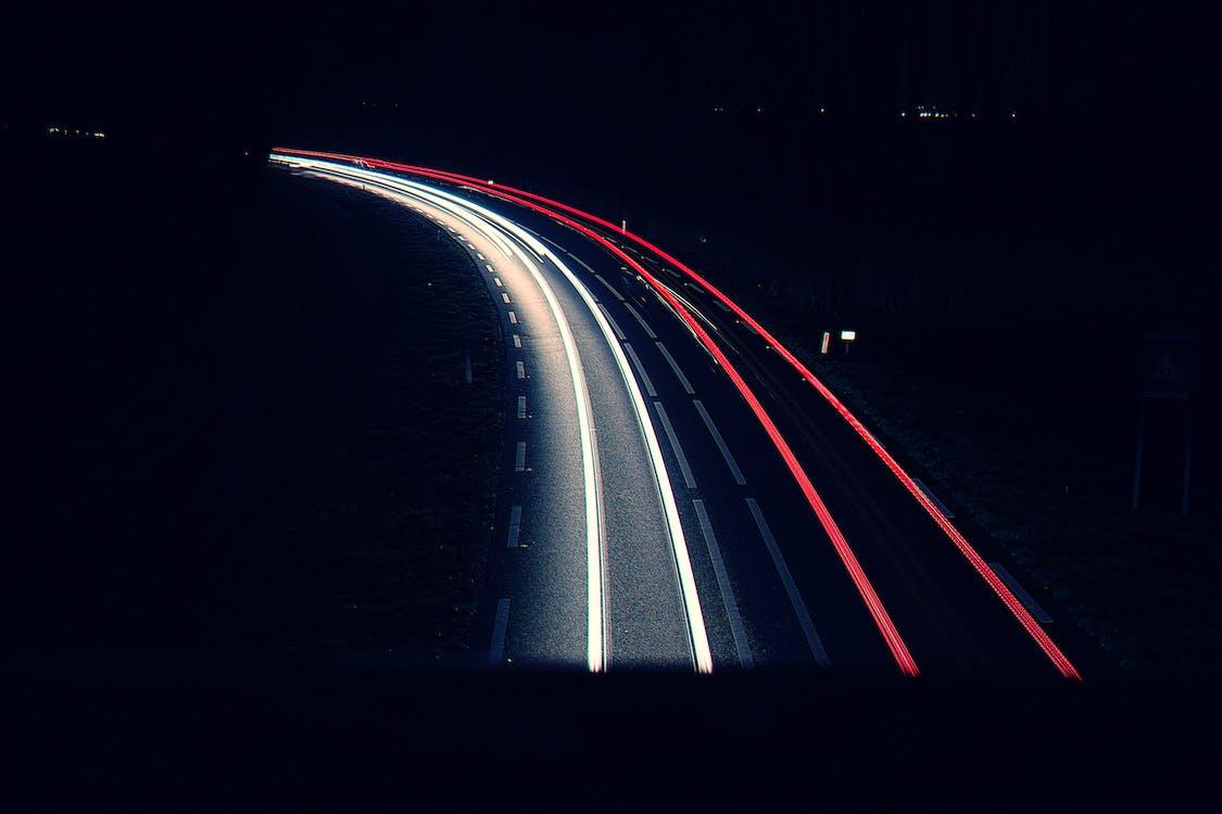 длинная экспозиция, дорога, ночь
