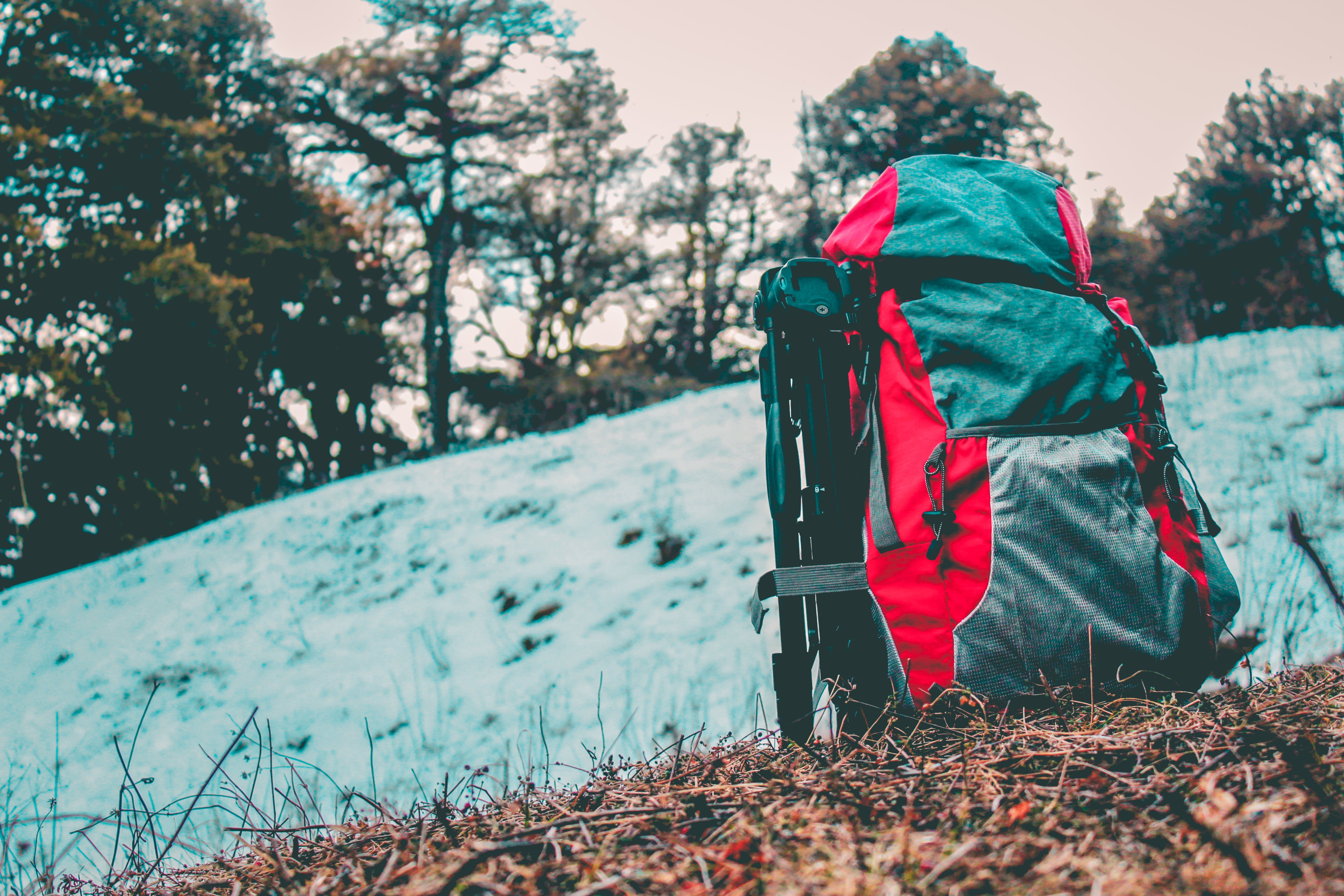 Gray and Red Hiking Backpack