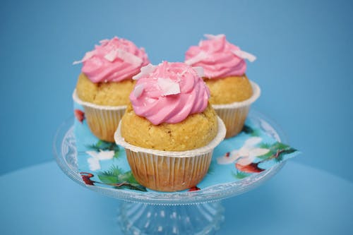 Three Cupcake With Pink Icing