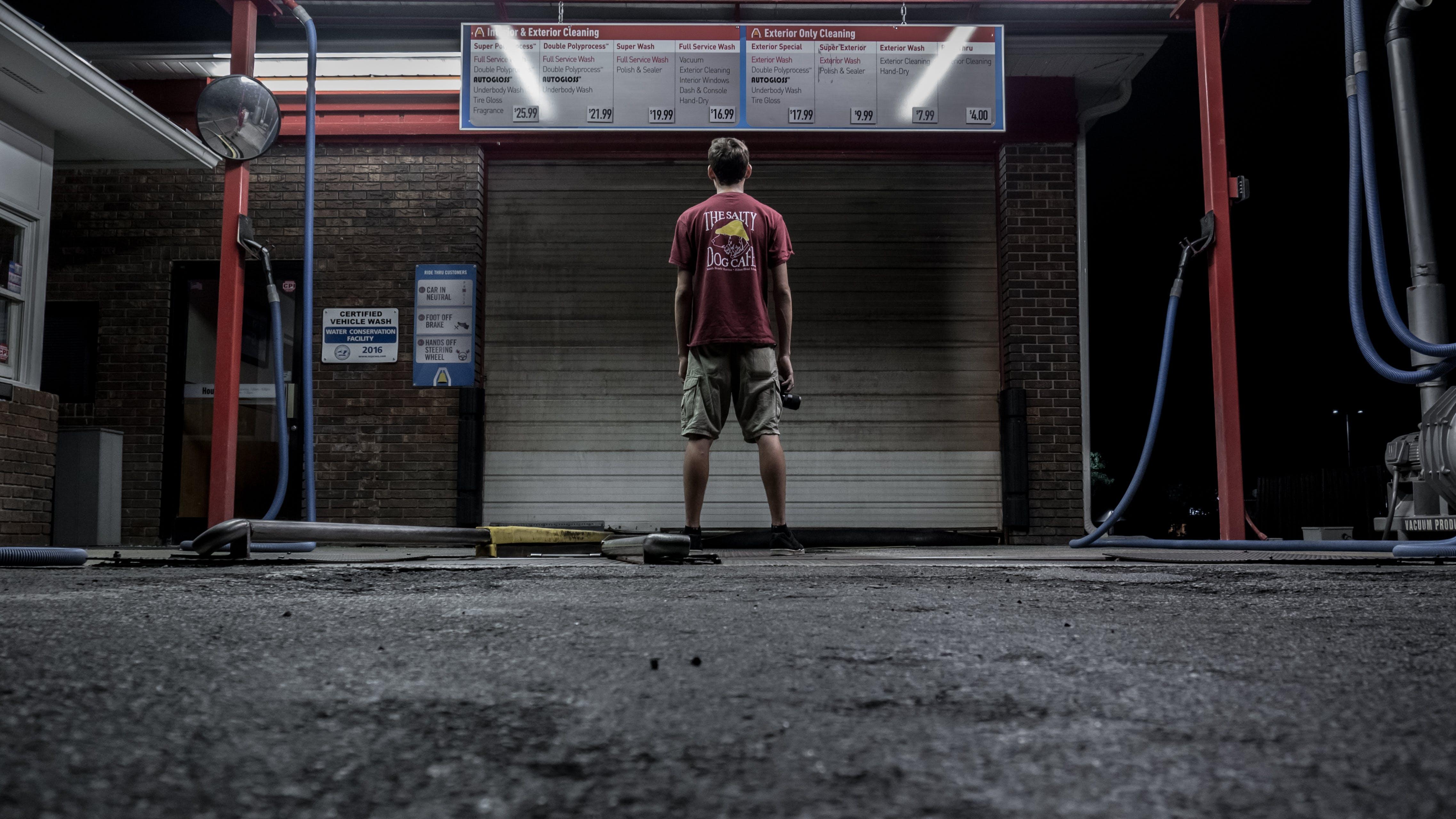 alone, car wash, dark