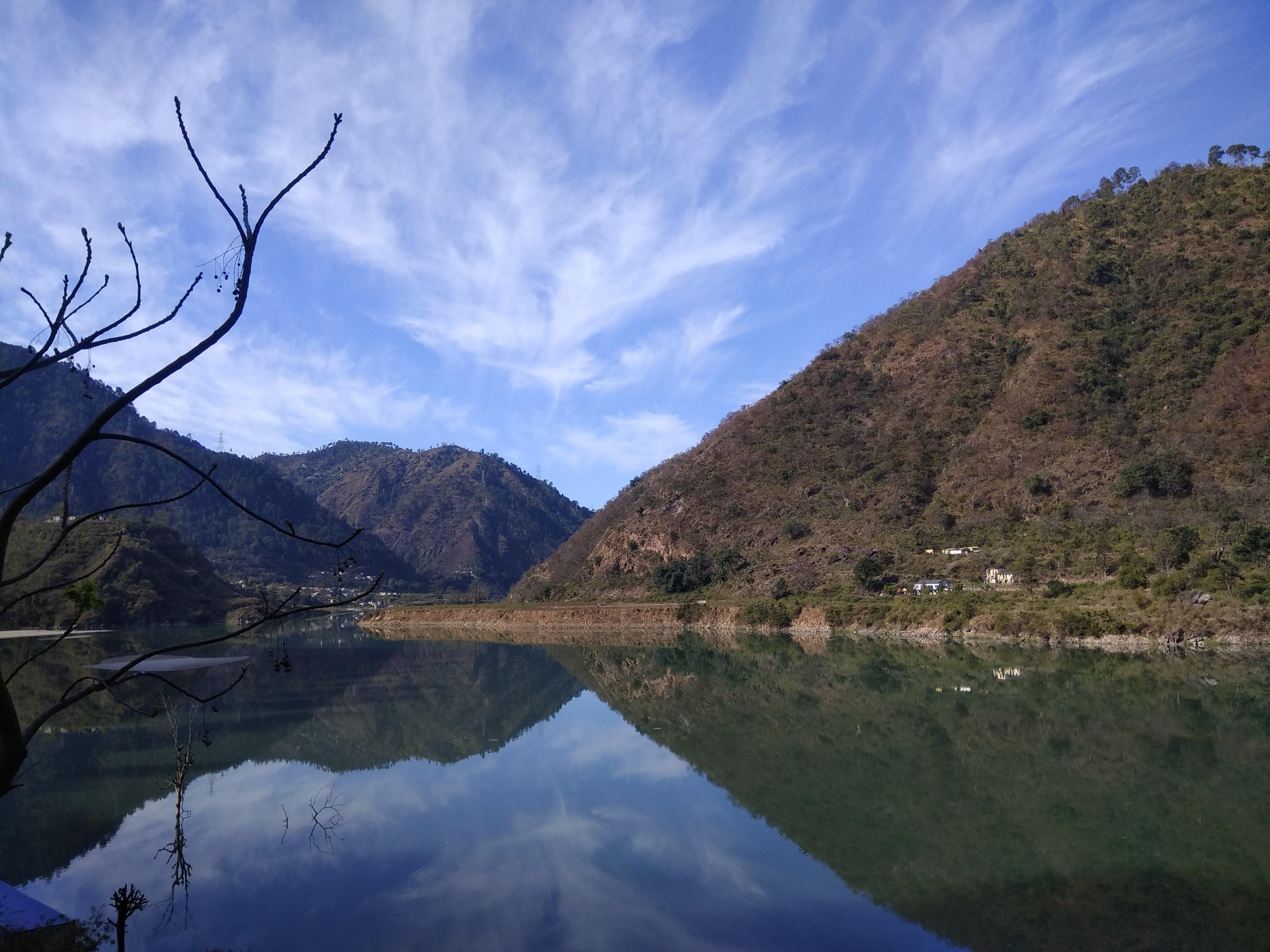 Free stock photo of blue mountains, blue sky, india, riverside