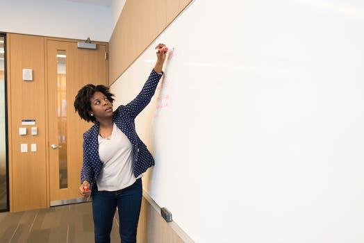 Woman Writing on Dry-erase Board