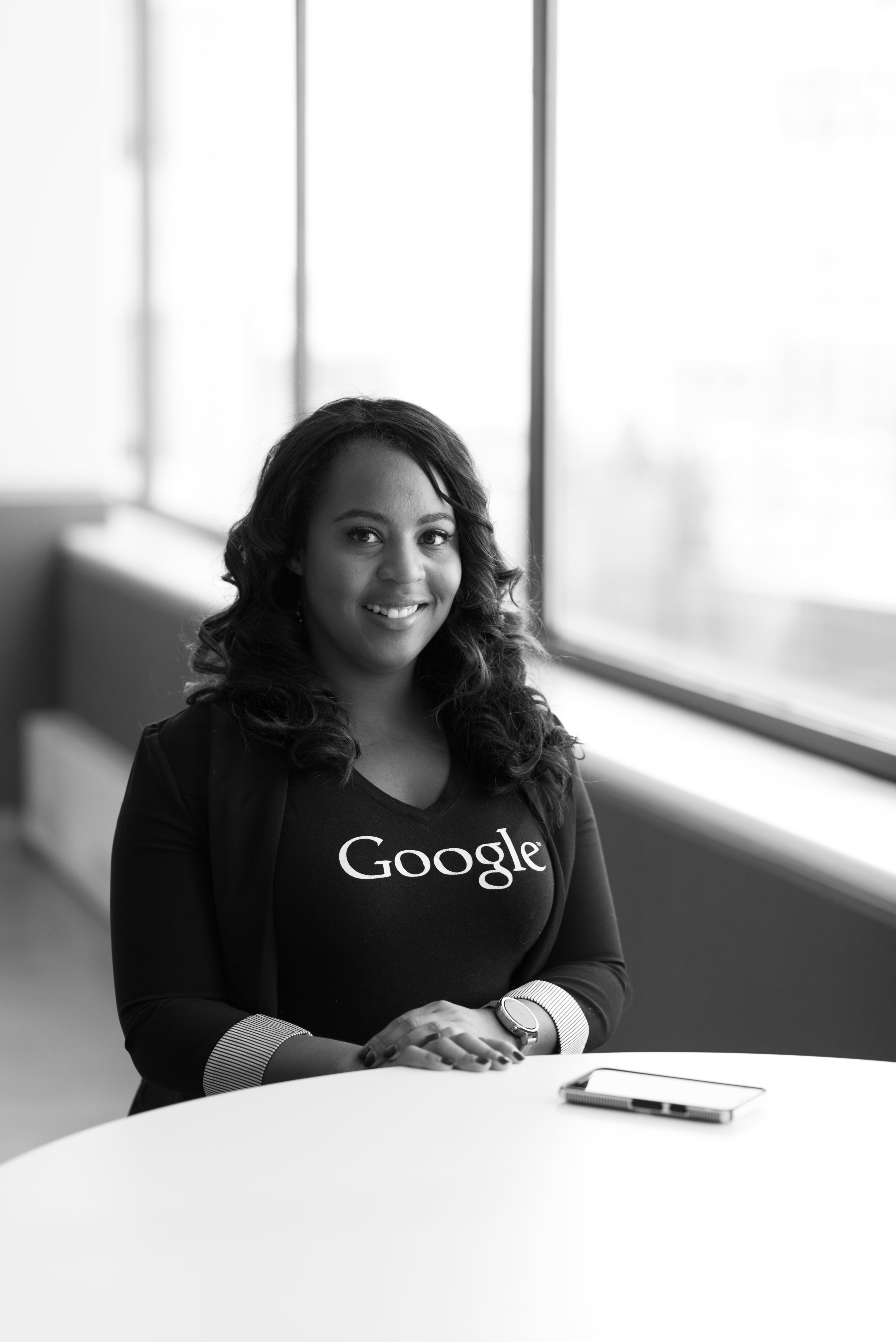 Woman Wearing Google-printed Shirt