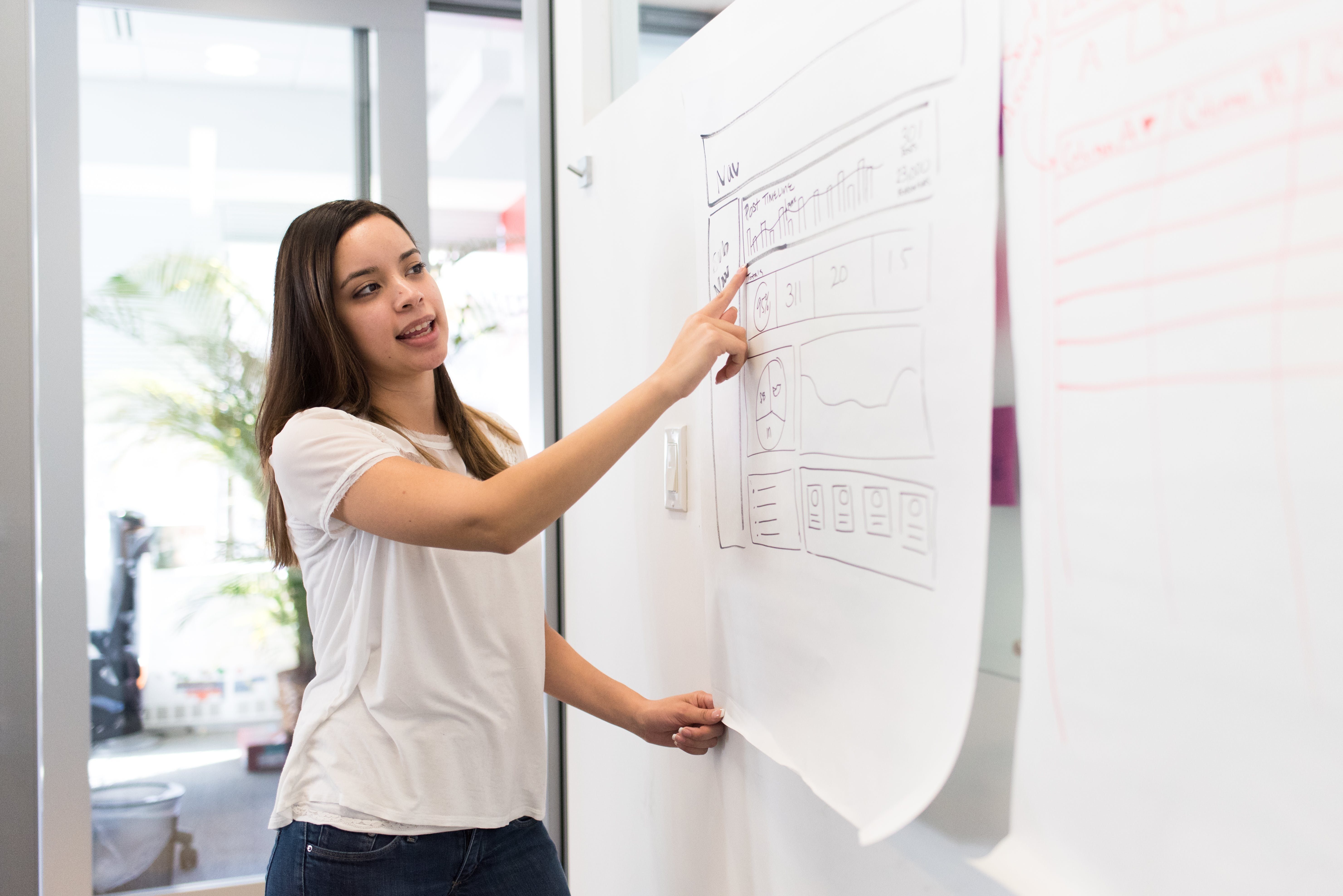 Woman Wearing White Shirt Standing Beside White Board While Pointing on White Paper