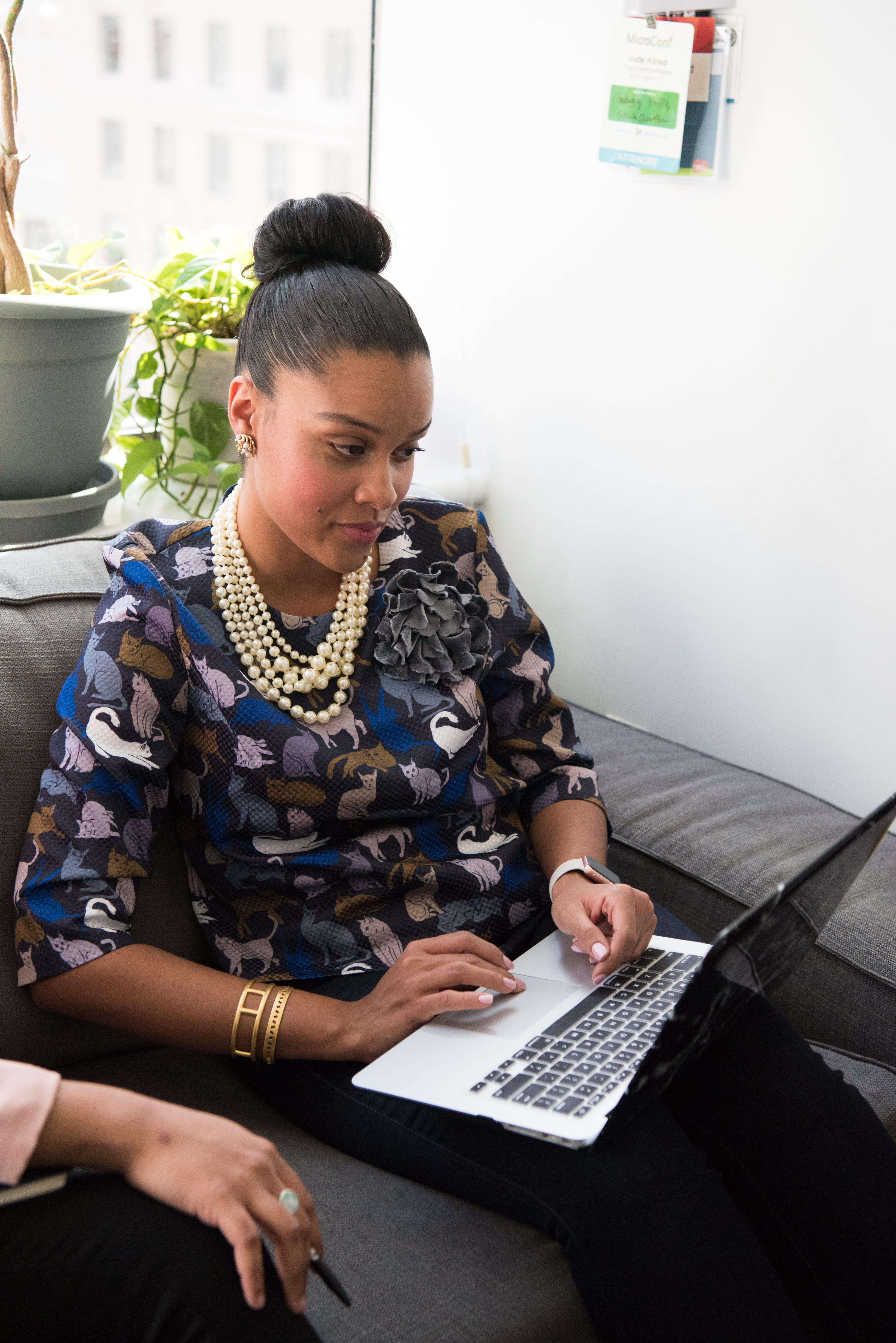 Woman Using Black and Gray Laptop Computer
