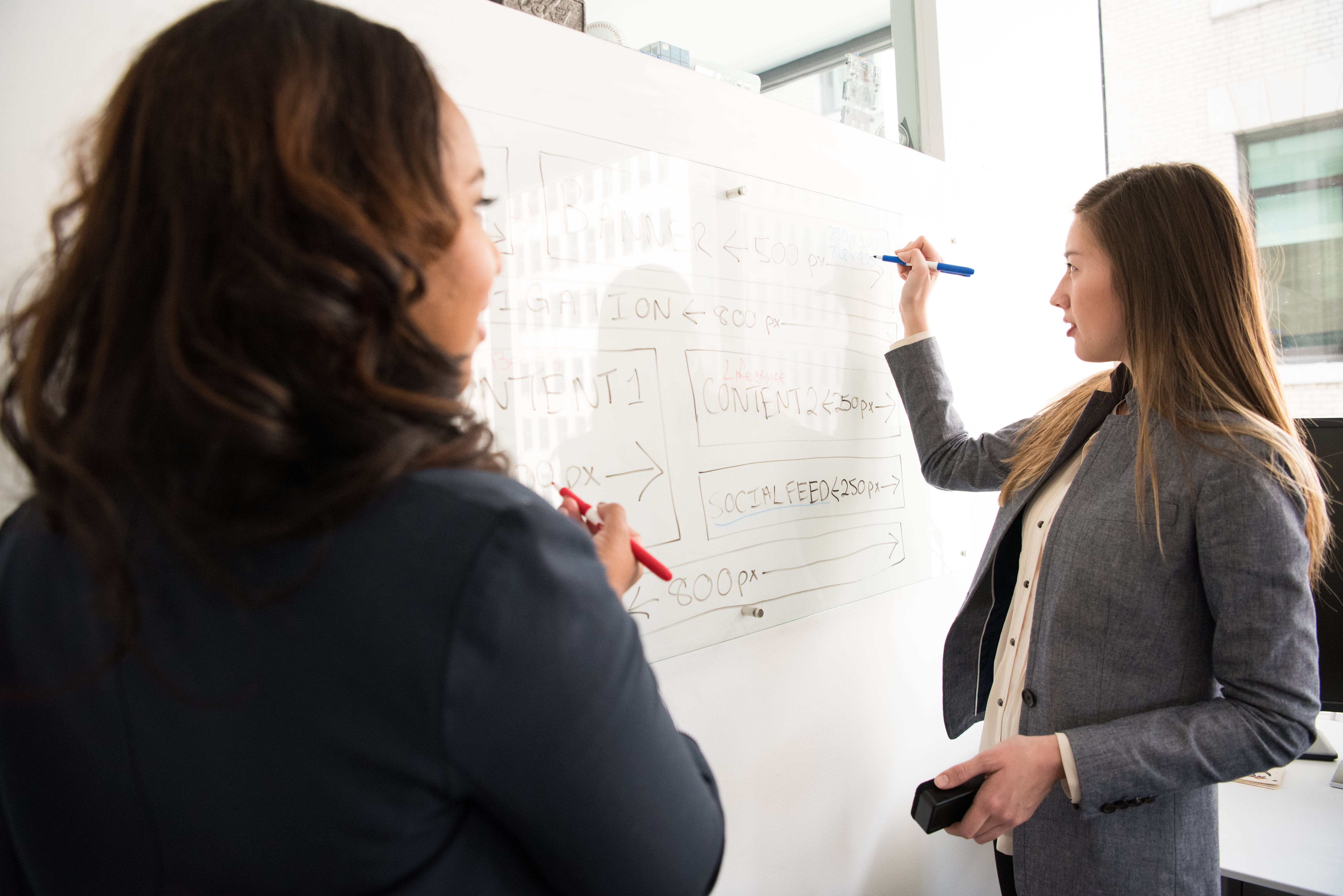 Two Women Standing in Front of Rectangular Whiteboard