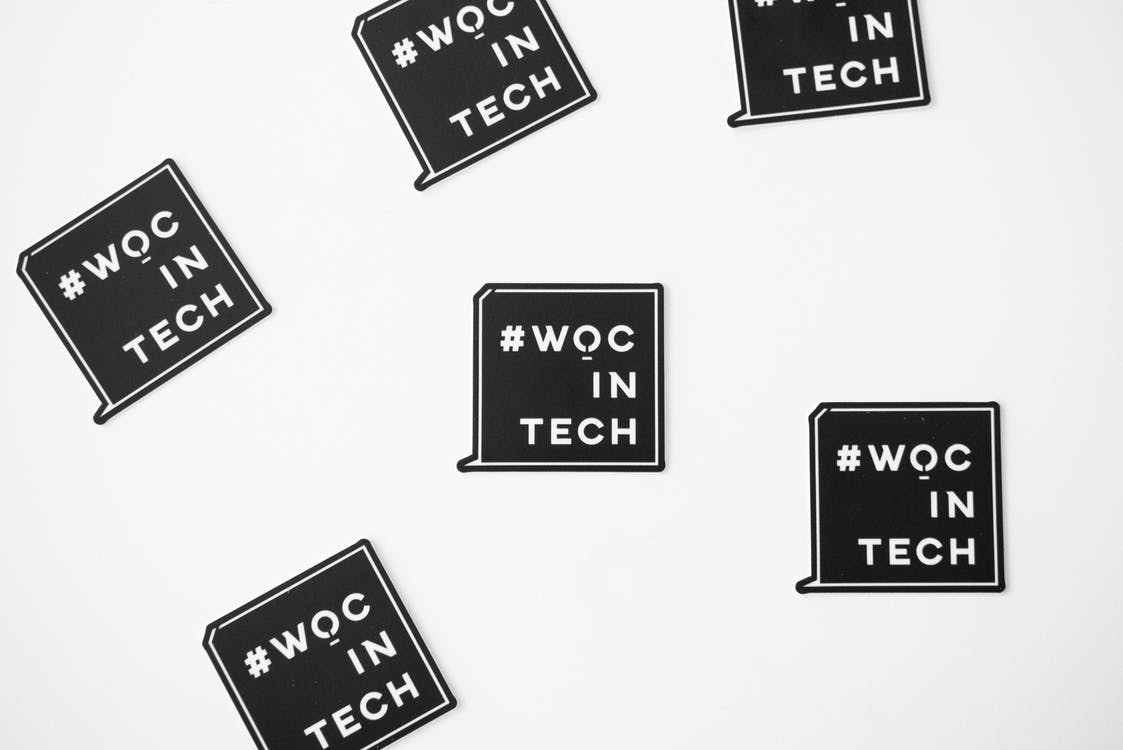 White and Black Woc in Tech Text Overlay