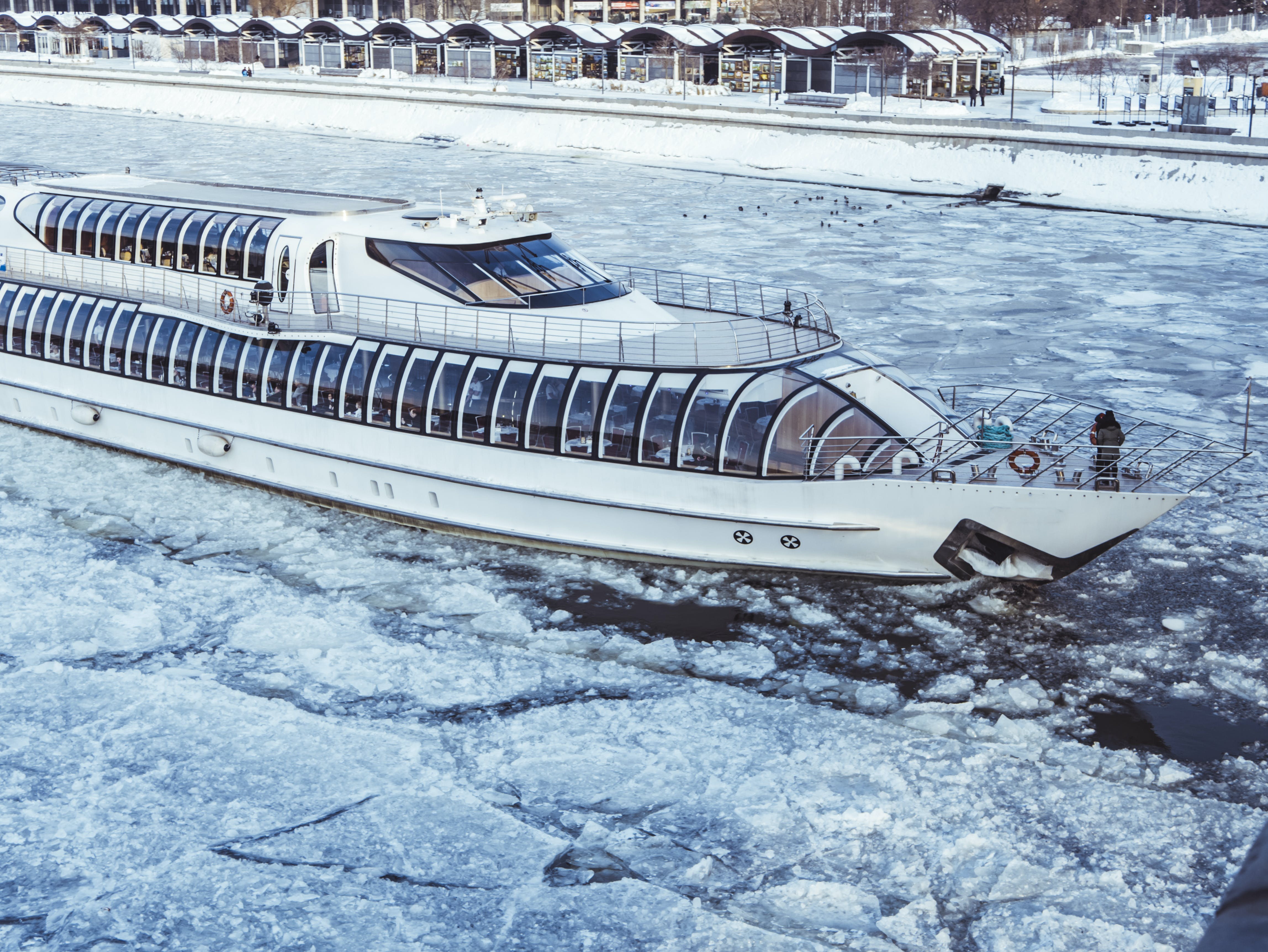 White Cruise Ship on icy Water