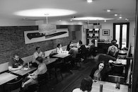 black-and-white, restaurant, people