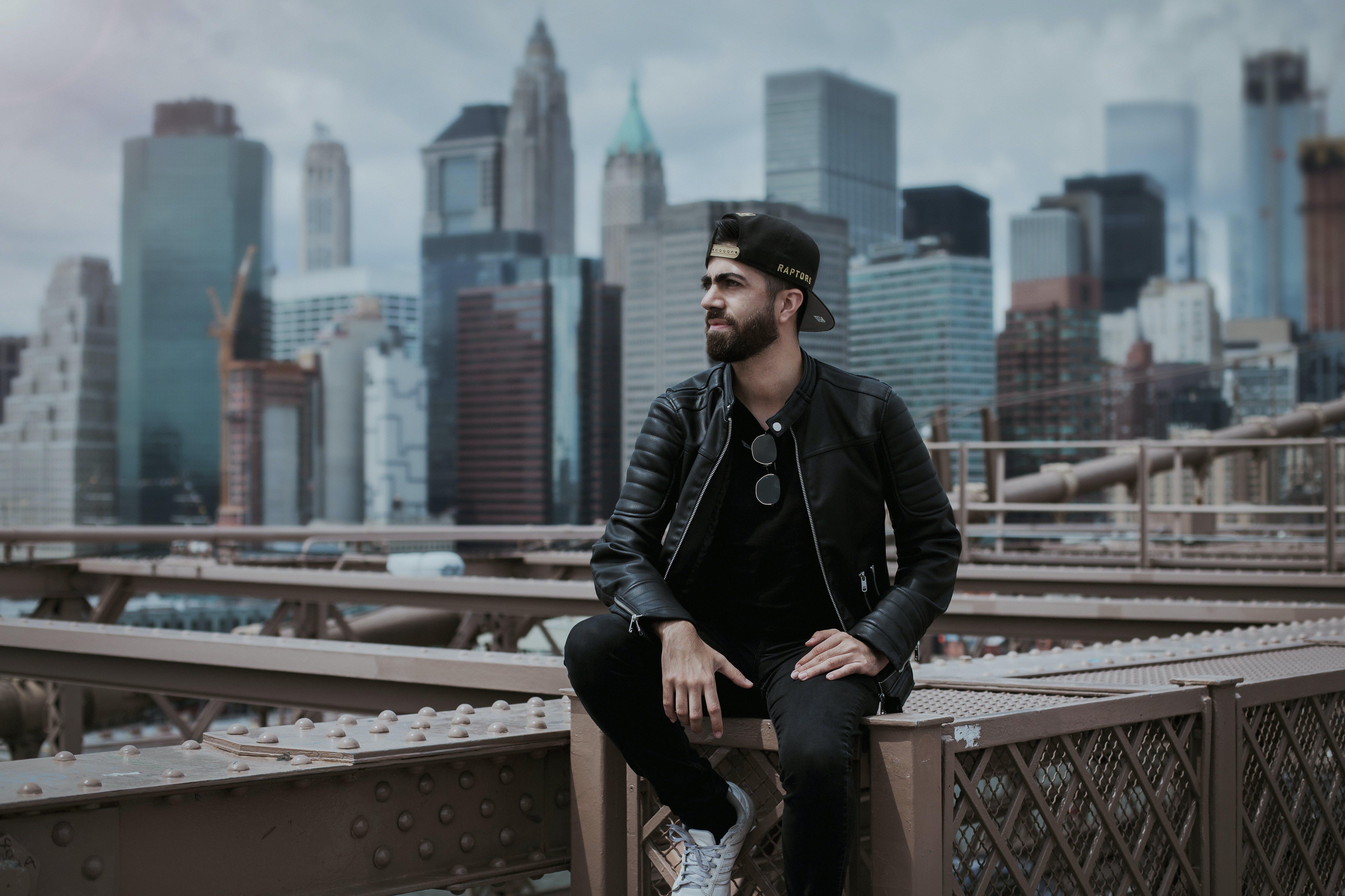 Man Wearing Black Zip-up Leather Jacket