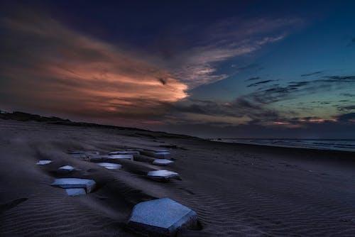Ingyenes stockfotó homokos strand, naplemente témában