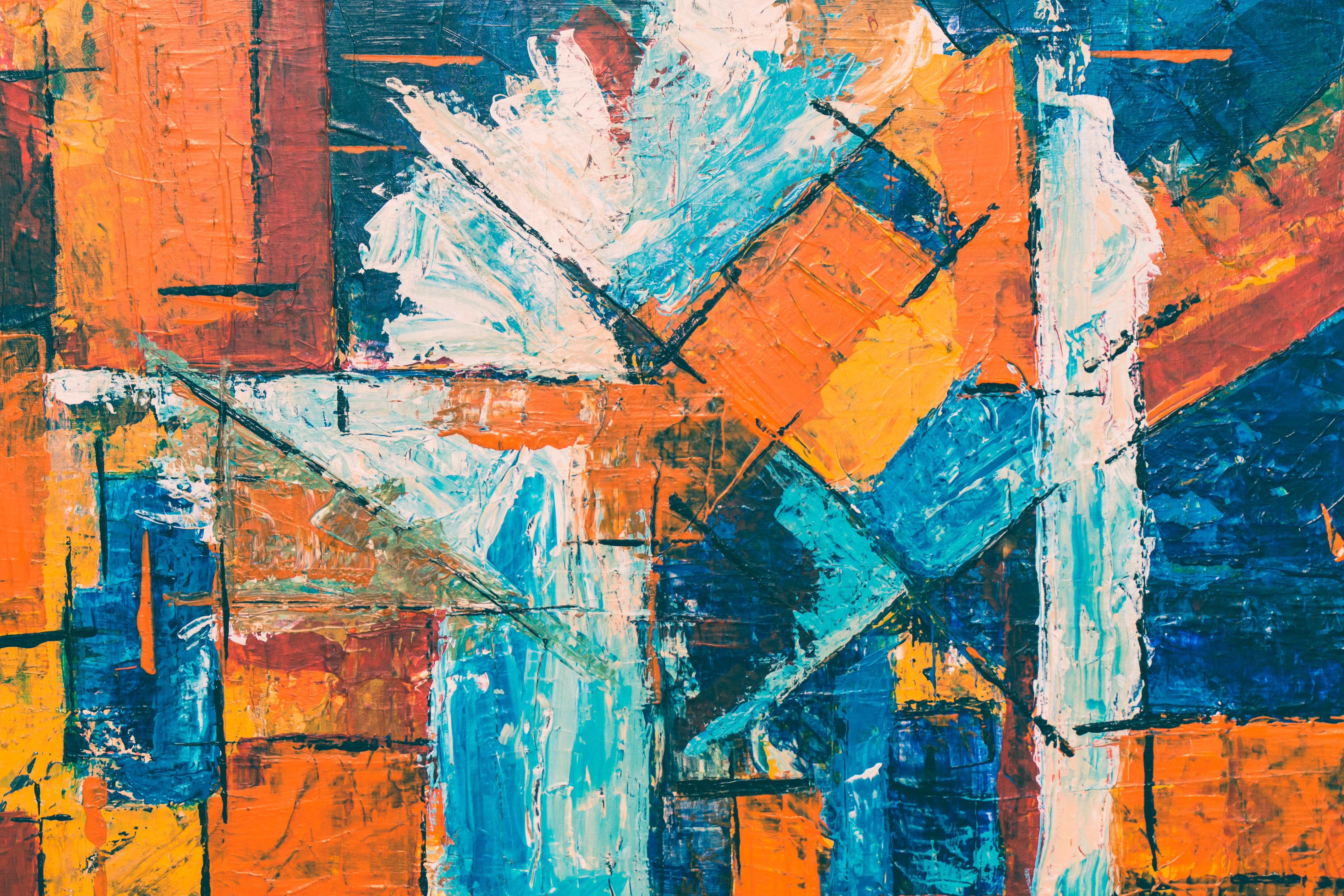 Blue, Orange, And White Abstract Painting