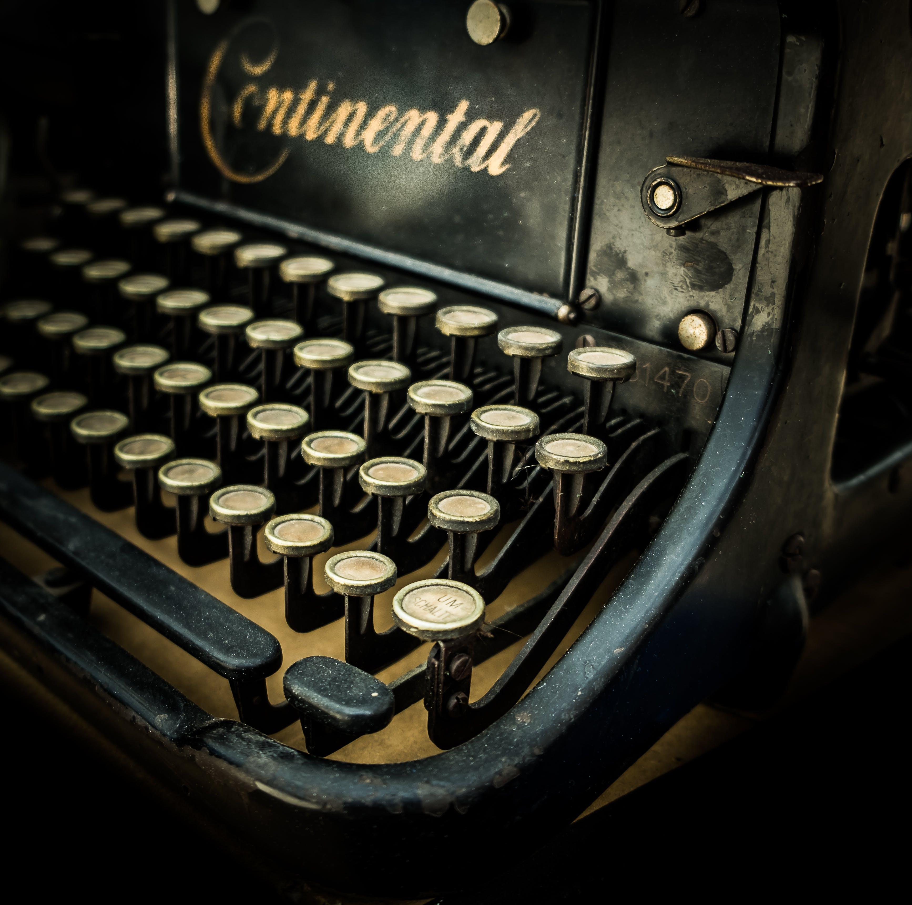 Free stock photo of vintage, keyboard, old, typewriter
