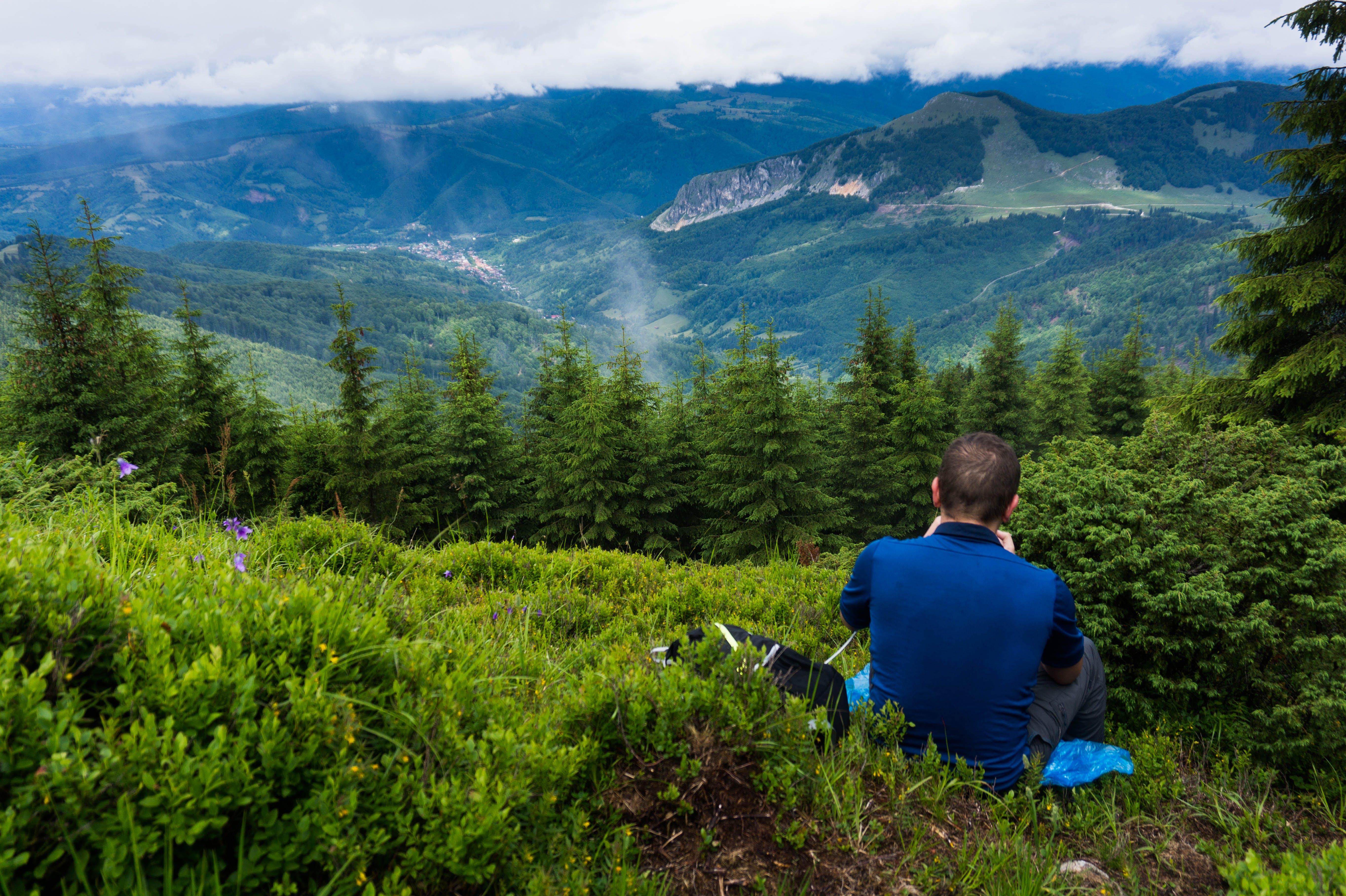 Man Wearing Blue Shirt Sitting On Green Grass