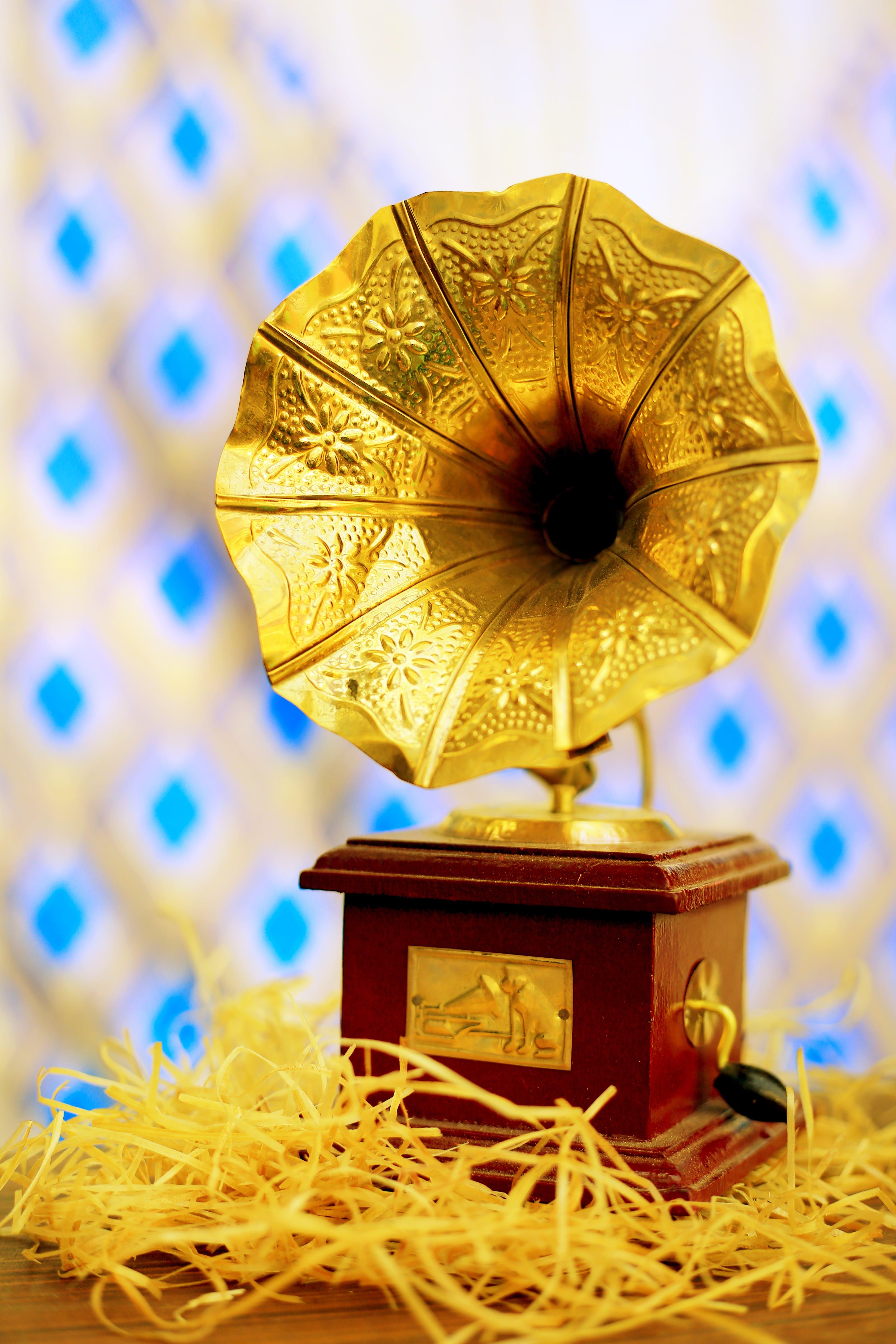 Free stock photo of golden, gramophone, music instrument, retro