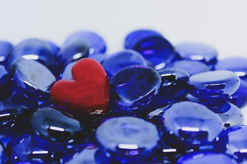 Free stock photo of #blue marbles#red heart