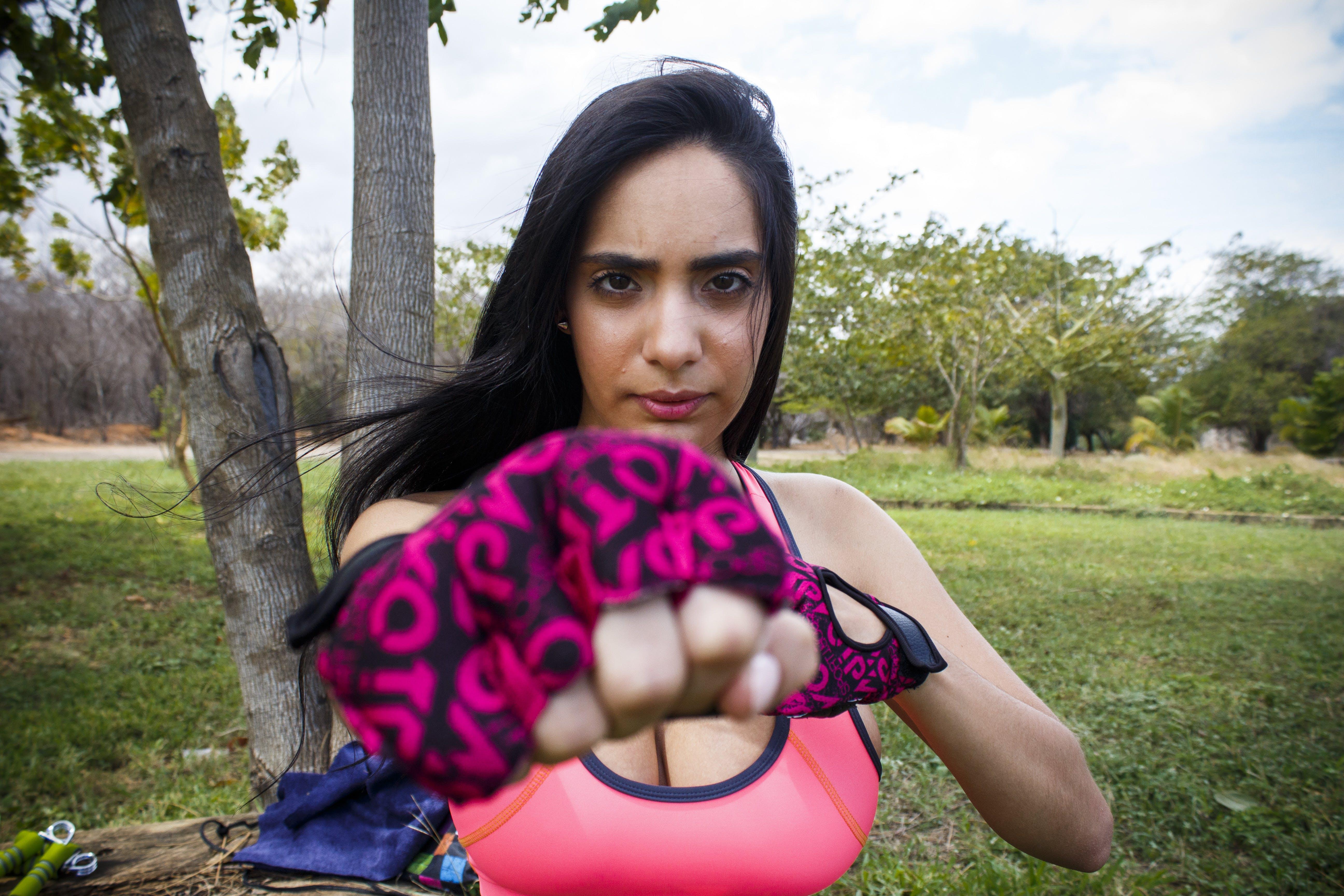 Free stock photo of fist, fitness model, gloves, latin girl