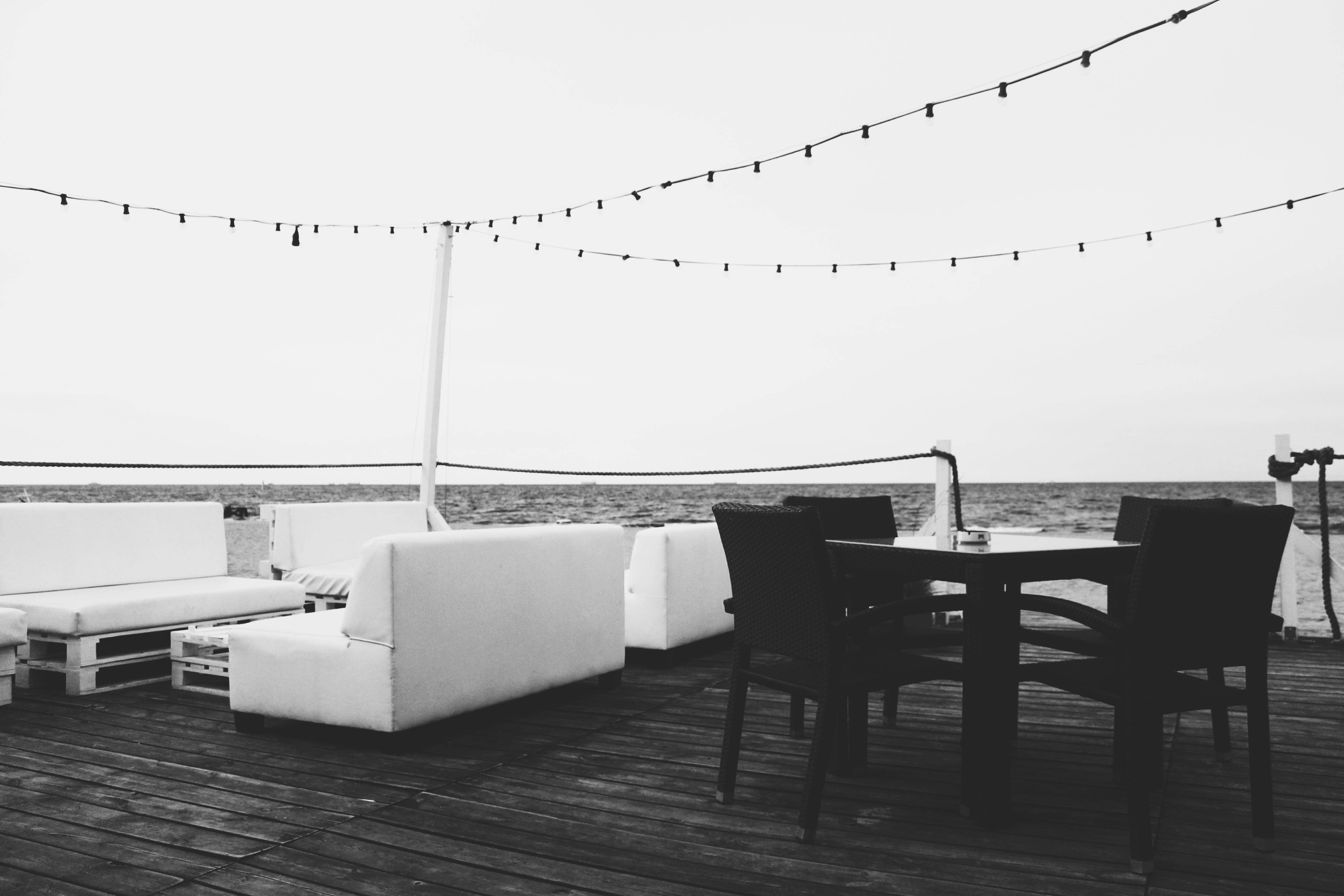 Free stock photo of sea, benches