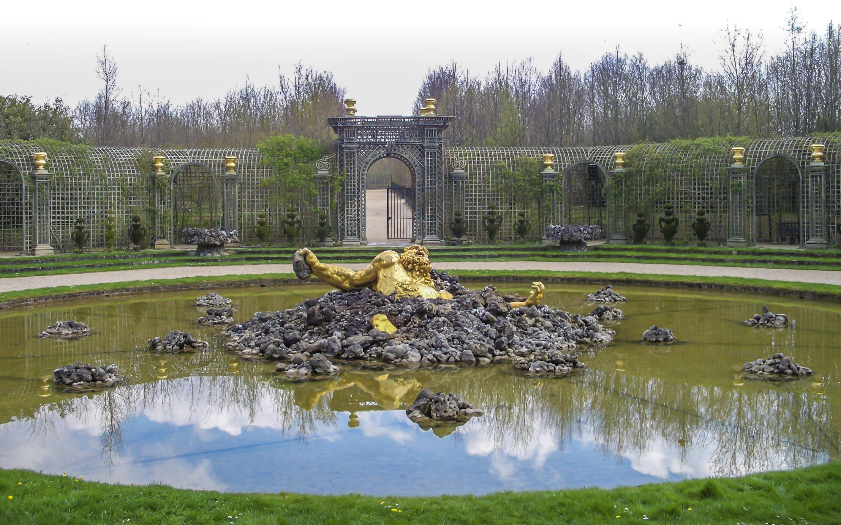 of gold man, golden statue, statue, Versailles
