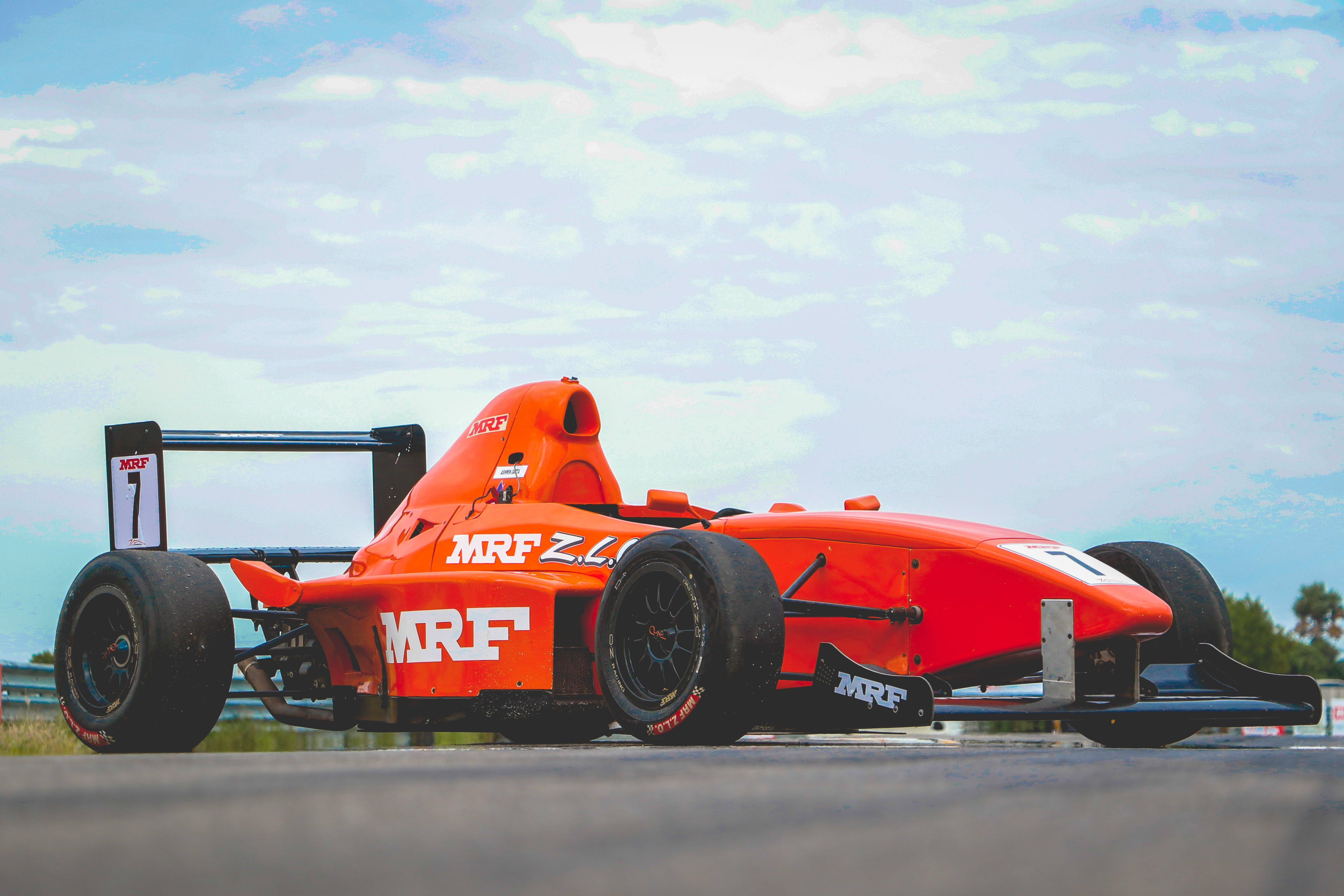 Free stock photo of cloudy, formula 1, india, race car