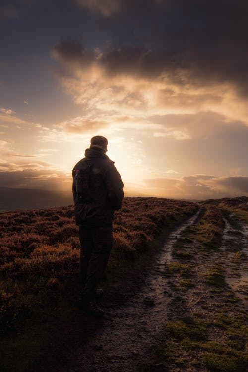 Man Standing in Muddy Field Path.