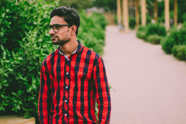 Men's Red And Black Checkered Dress Shirt