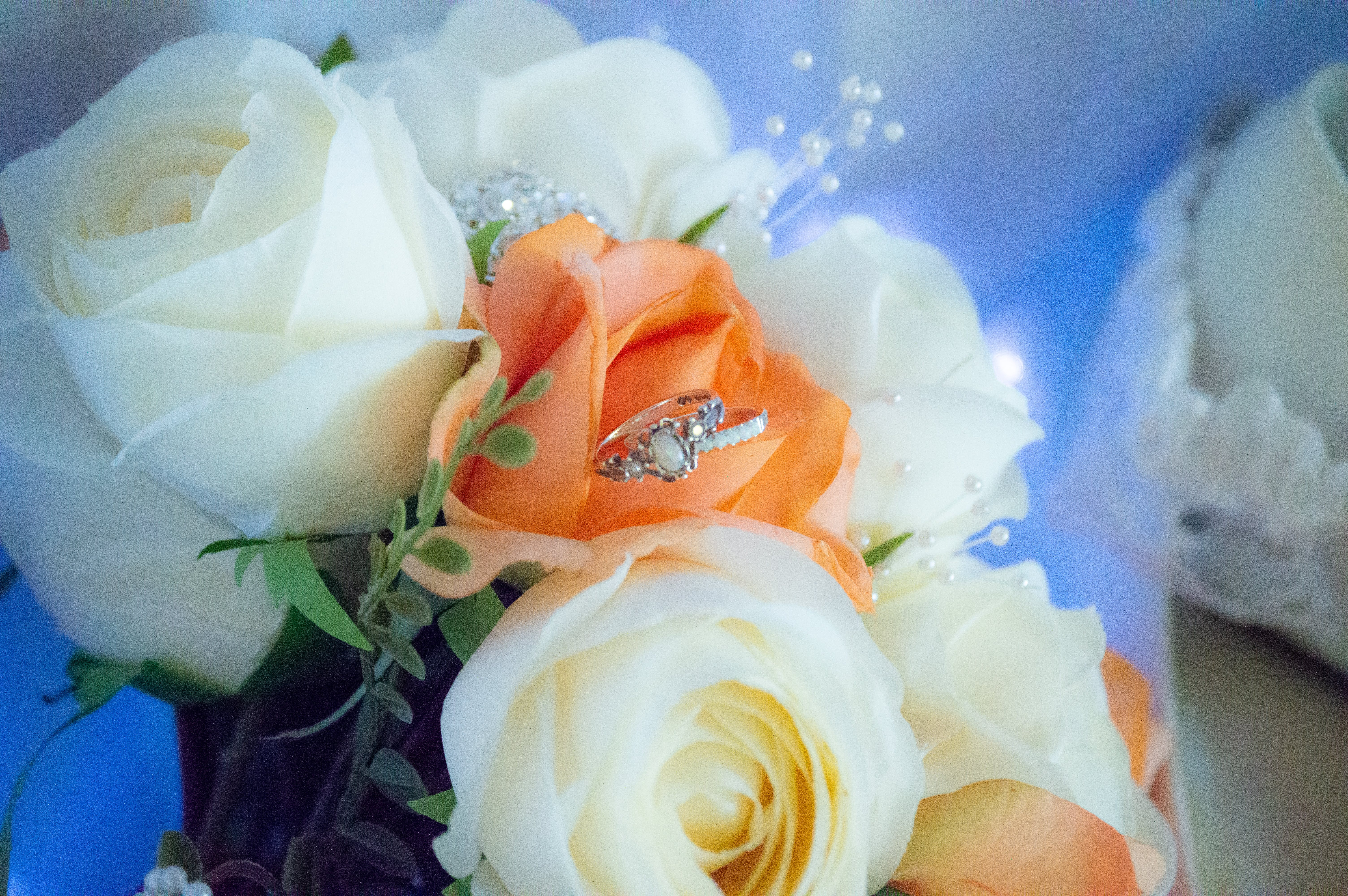 Free stock photo of artificial flowers, flowers, rings, wedding