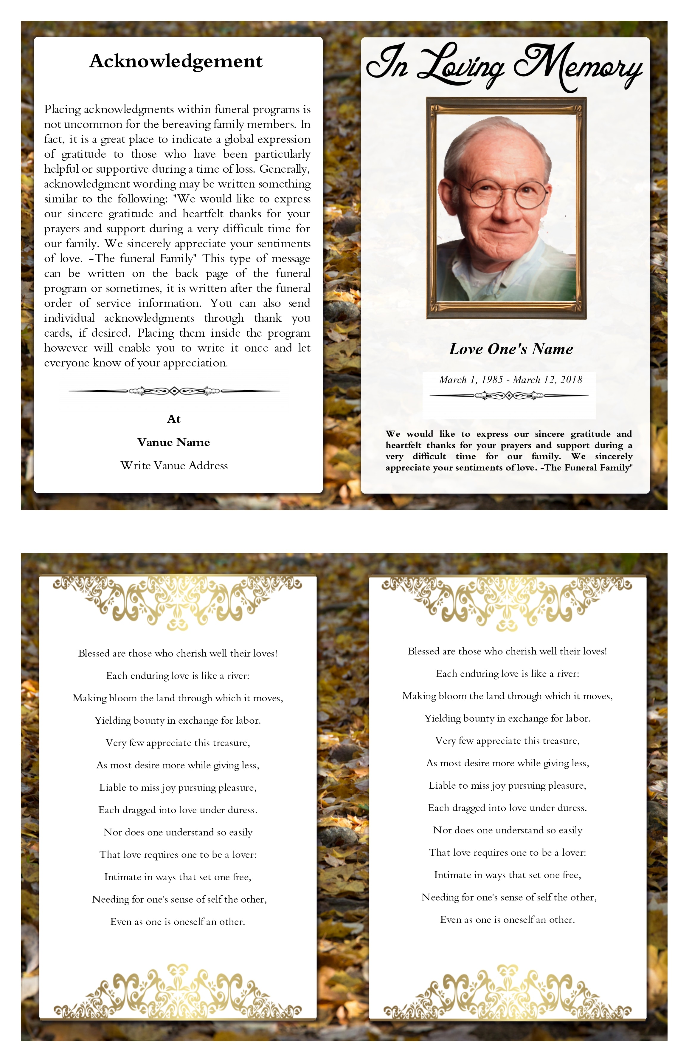 Free Stock Photo Of Funeral Program Template Funeral Program Templates