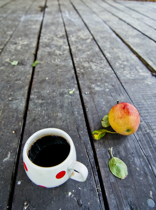 Free stock photo of apple, black coffee, coffee, cup of coffee