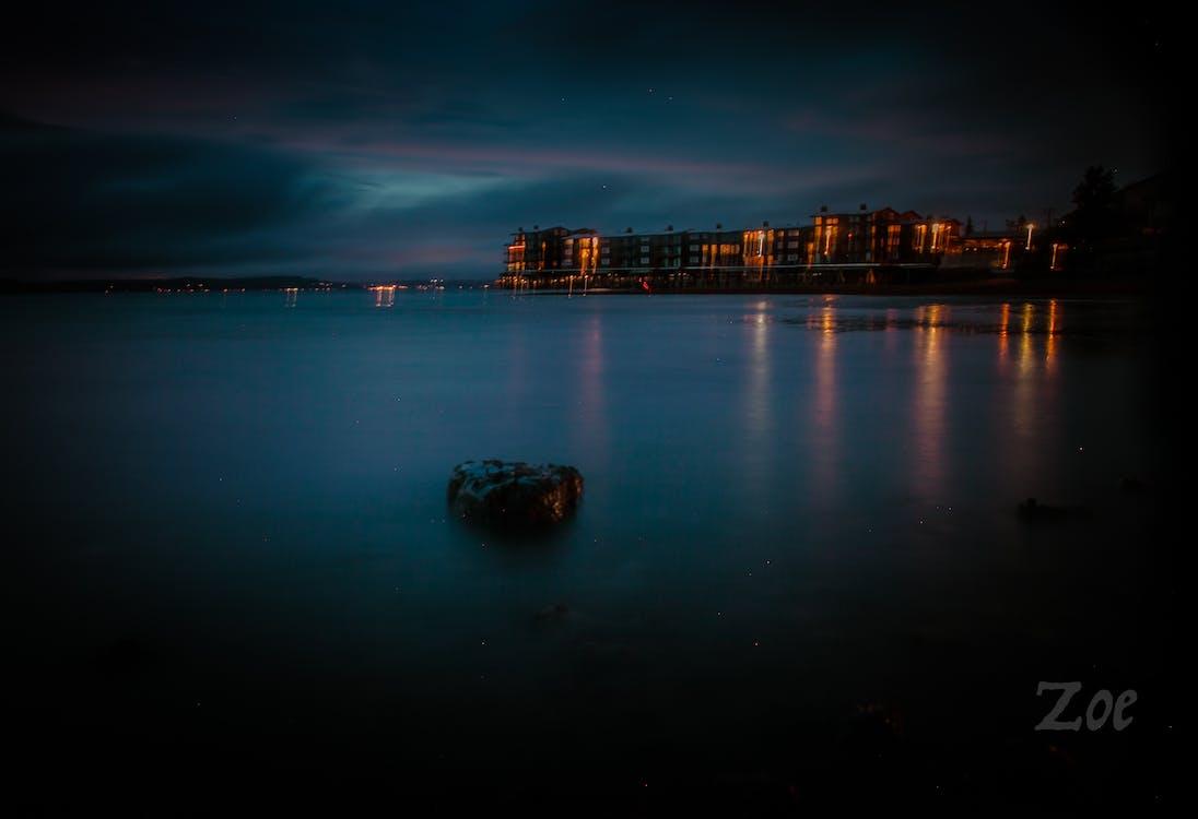 agua, azul, barrio de playa