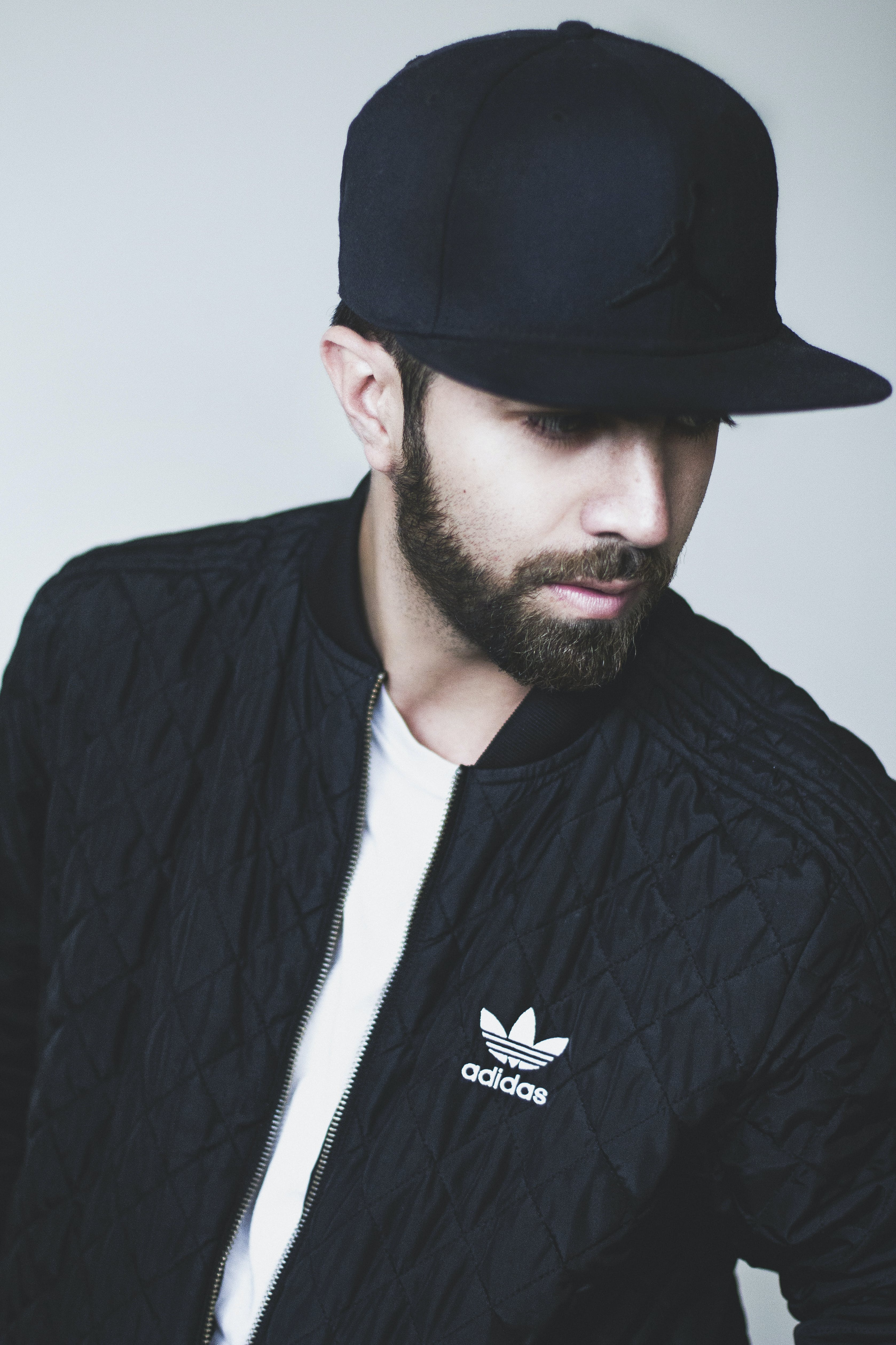Man in Black Adidas Full-zip Jacket