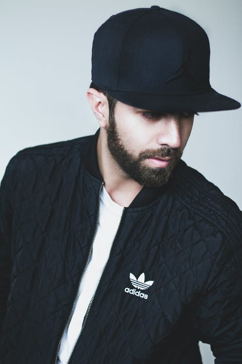 Man in Black Adidas Full-zip Jacket