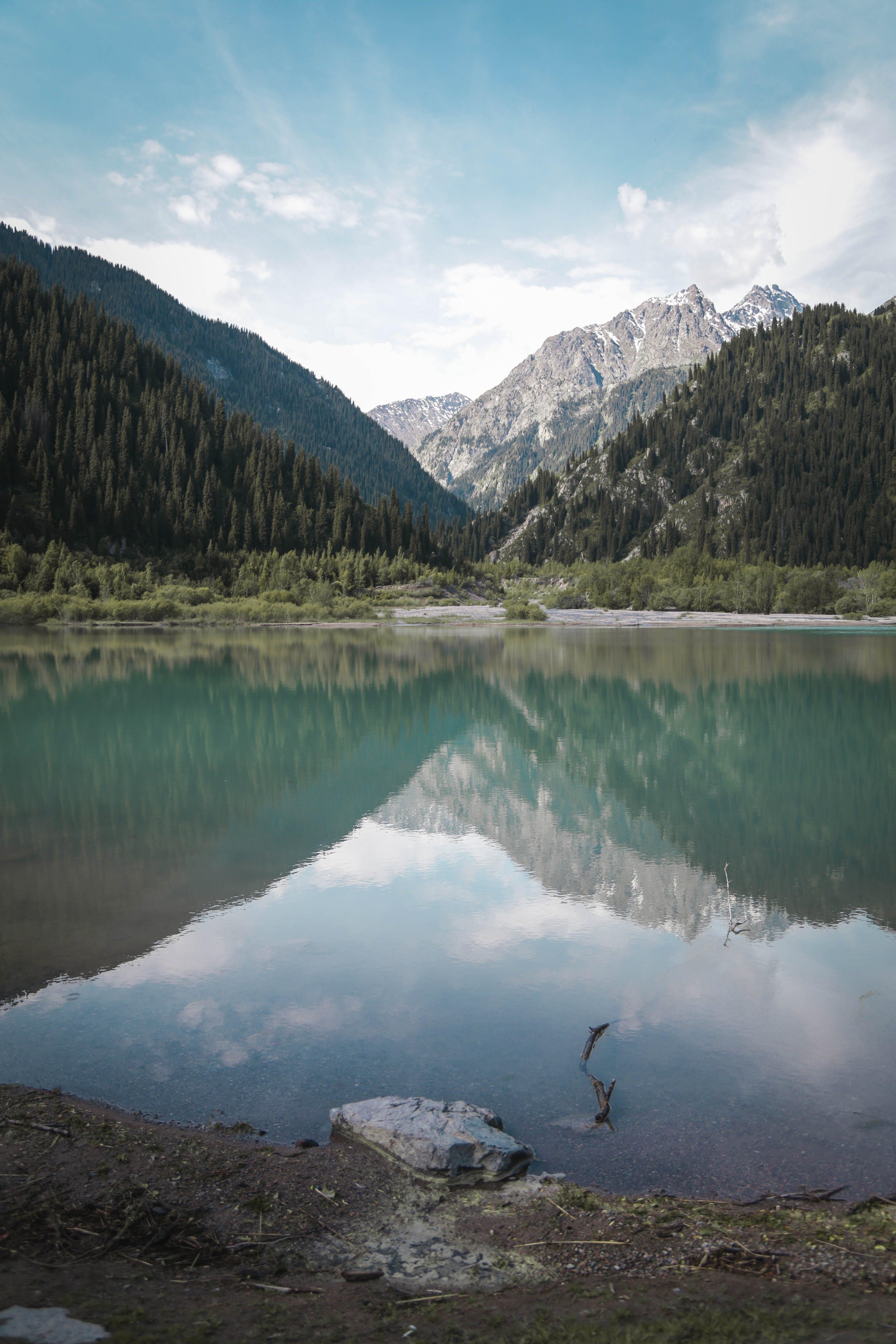 Бесплатное стоковое фото с вода, горные вершины, горы, деревья