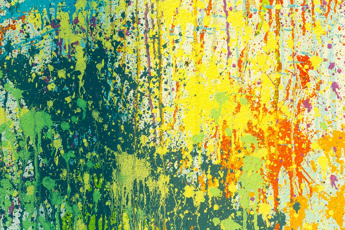 Yellow, Green, and Red Abstract Painting