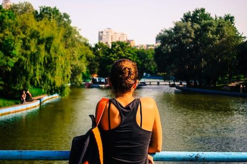 Gratis lagerfoto af kvinde, person, træer, vand