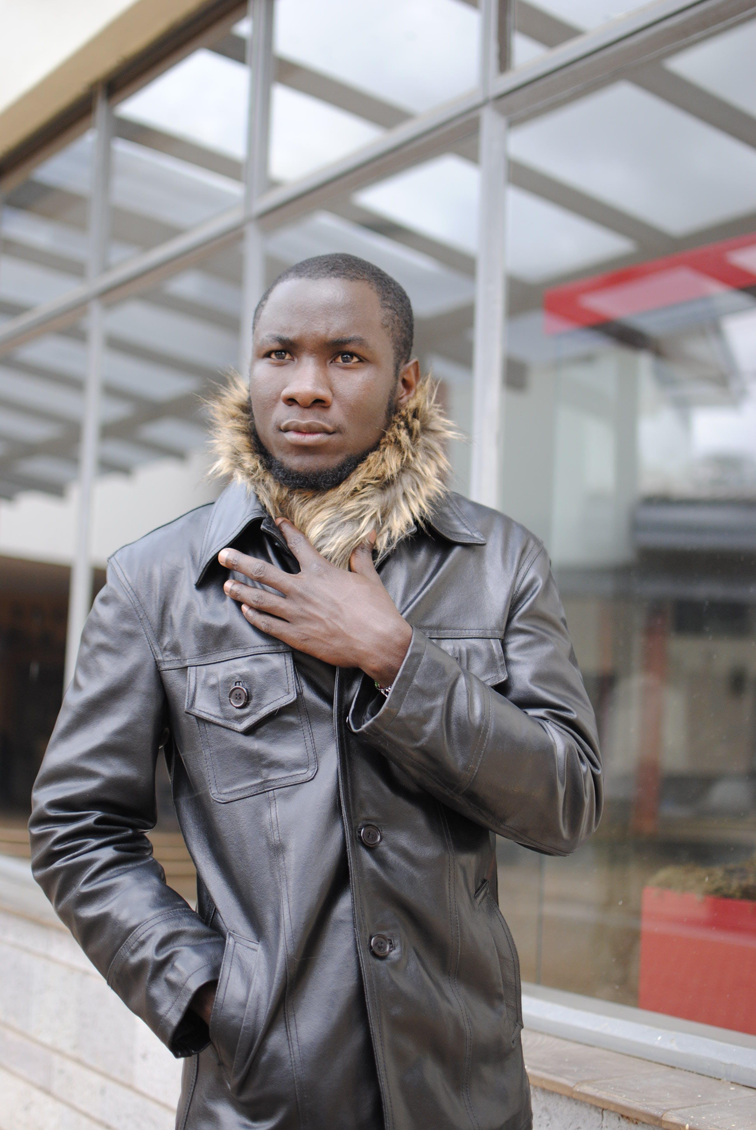Photo of Guy Wearing Leather Jacket