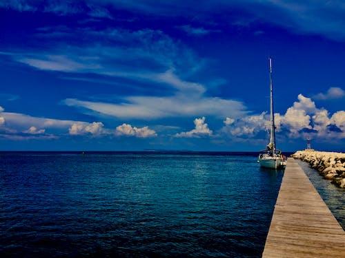 Free stock photo of blue sky, calm waters, othonoi, sail