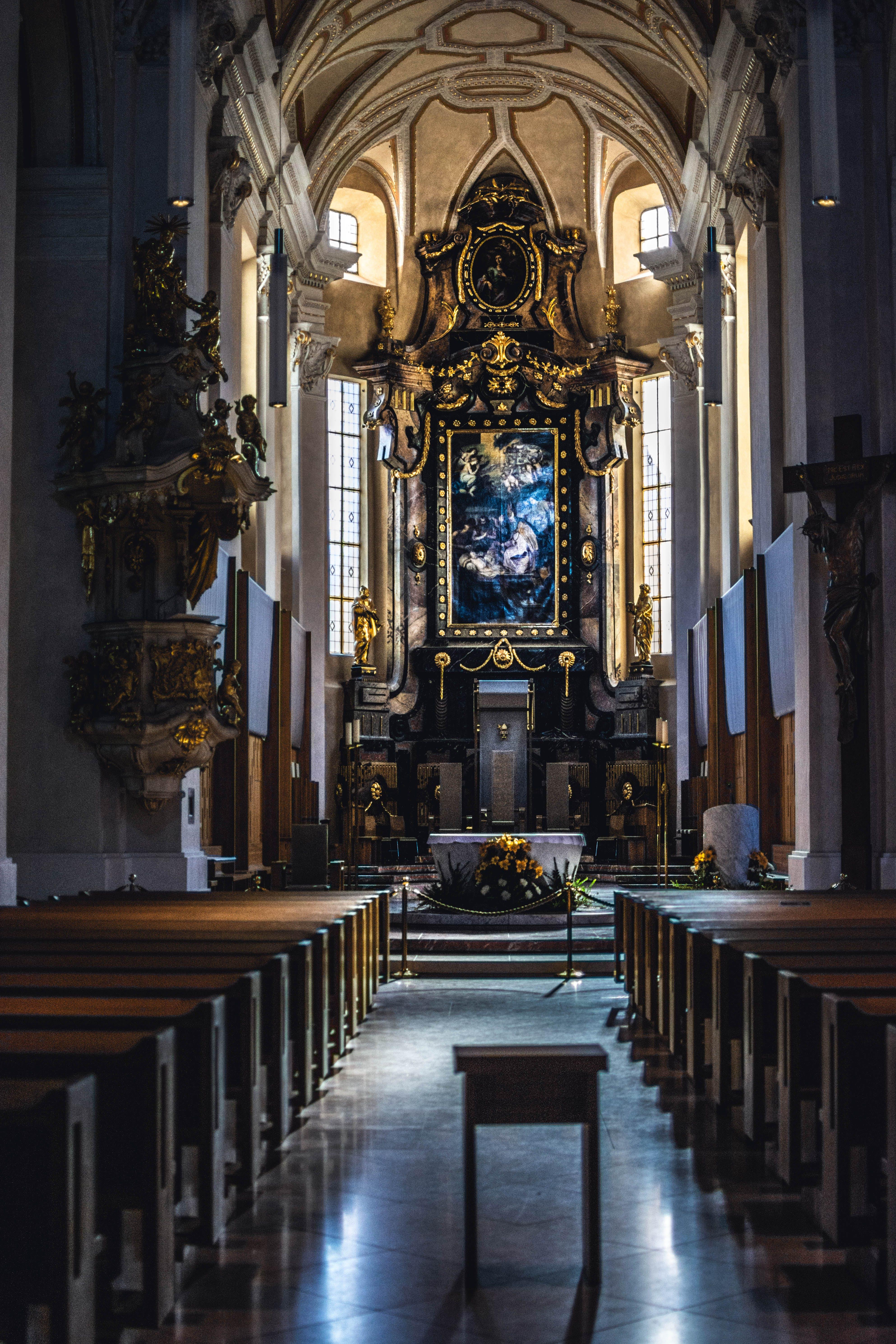 Brown and Black Church Interiro