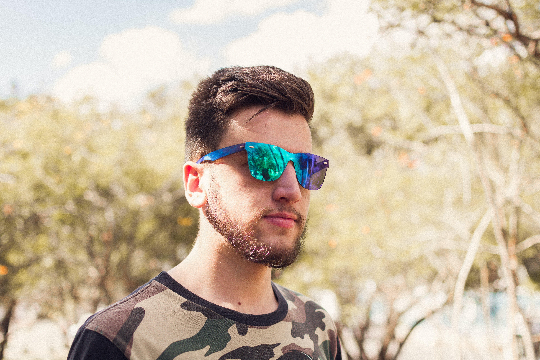 Man Wearing Shield Sunglasses