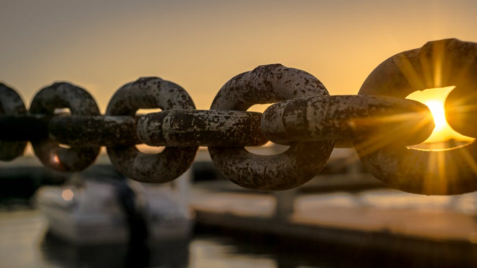 boat, chain, dawn