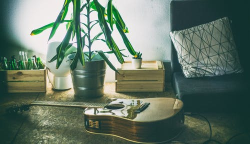 Free stock photo of classical guitar, home interior