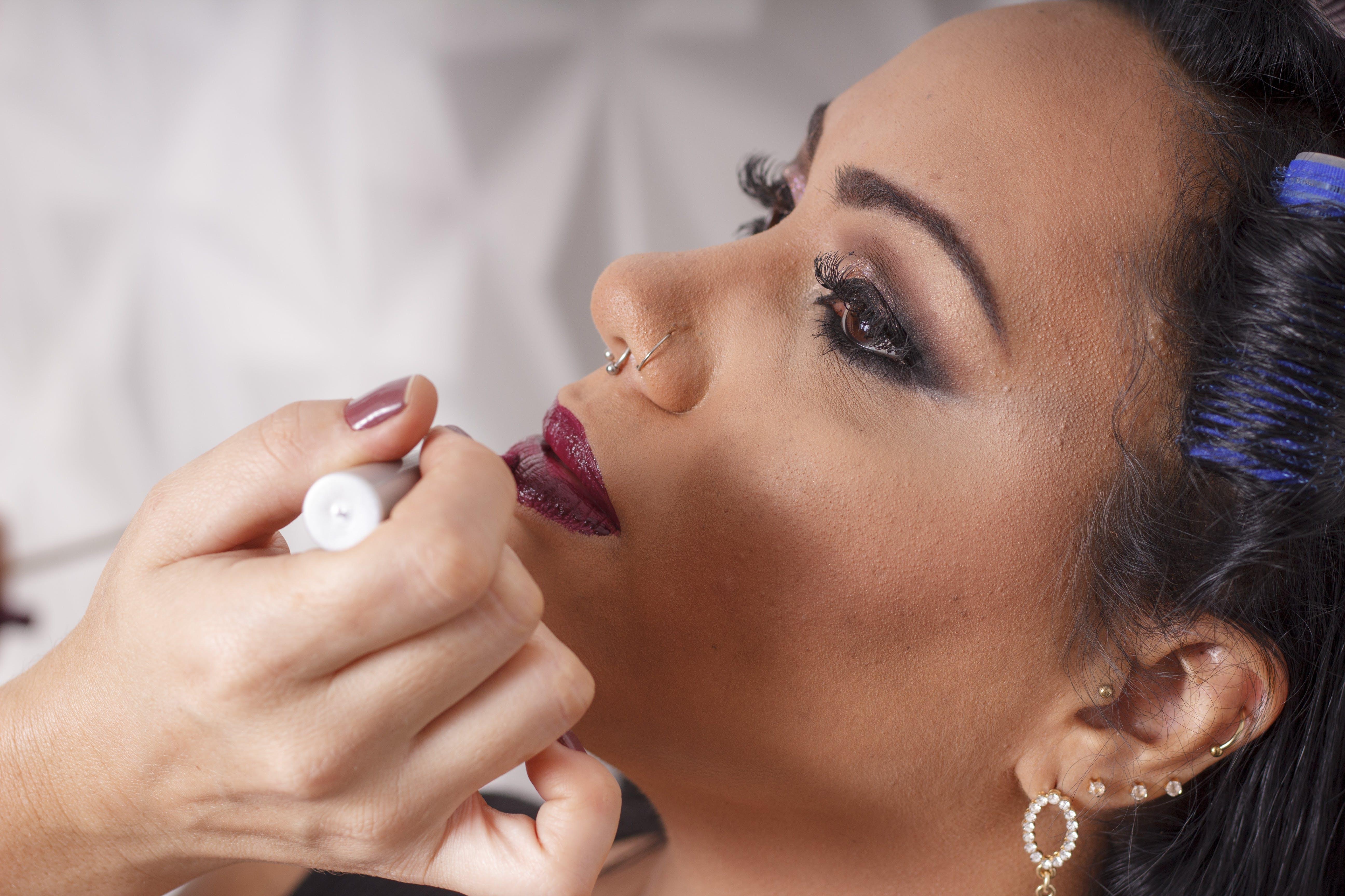 of dark lipstick, make up, red lipstick