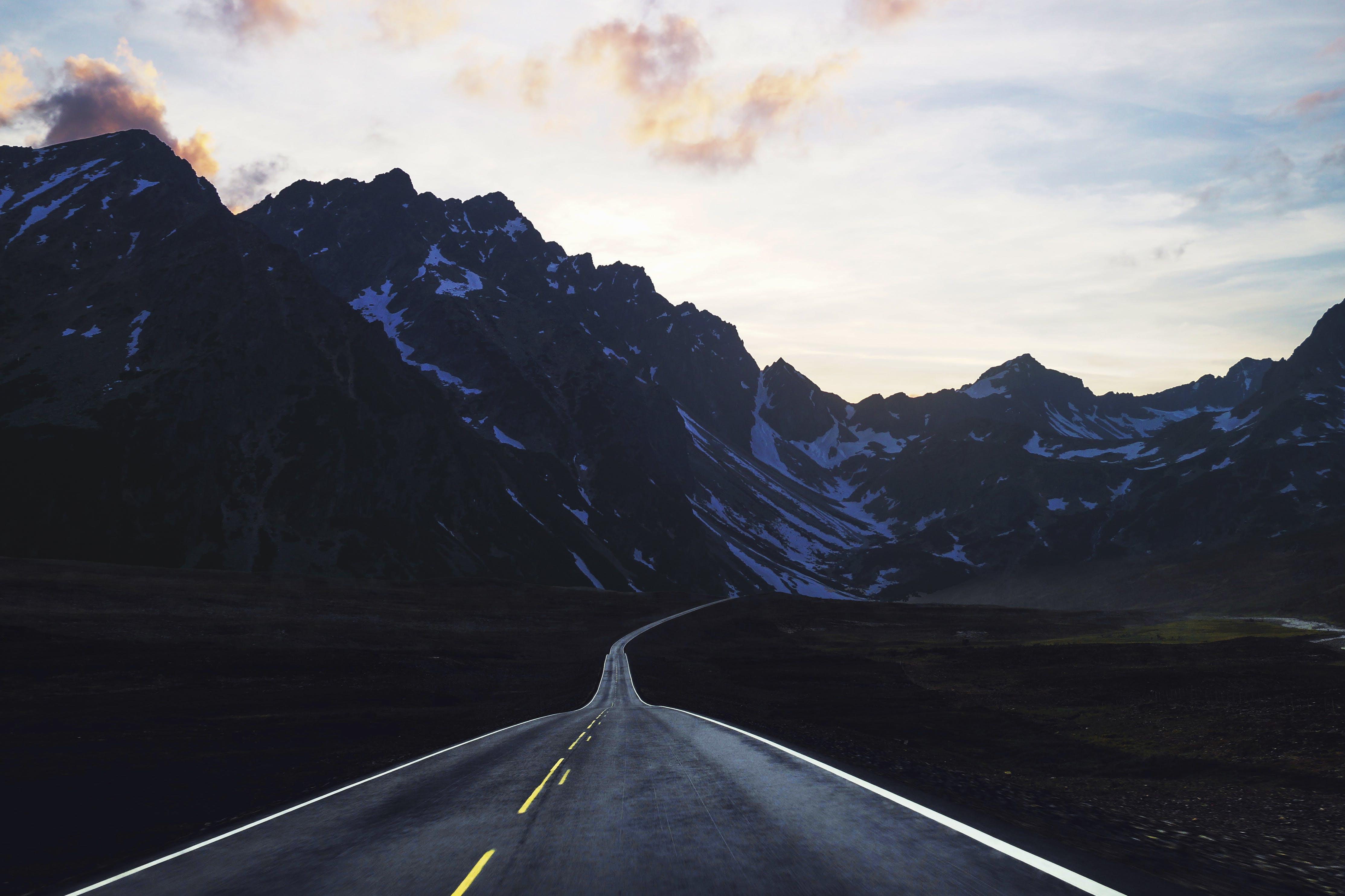 Gray Concrete Road With Mountain Ahead