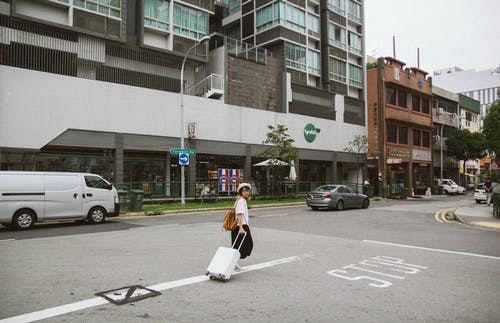 女人走向大樓時拉行李箱