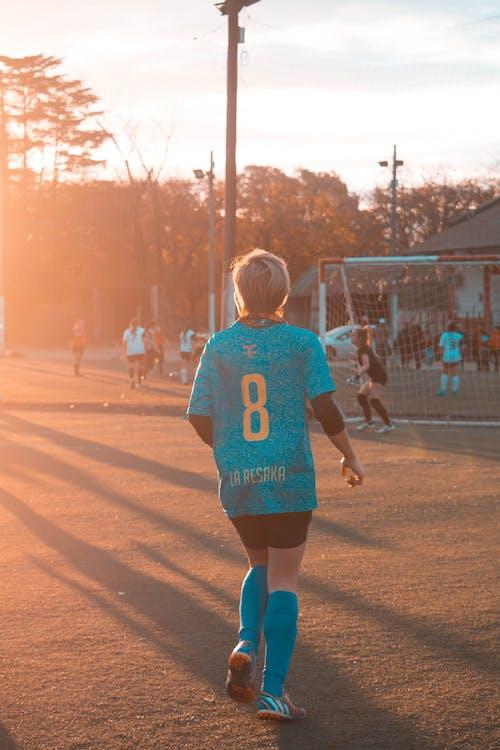 atleta, camp de futbol, dona